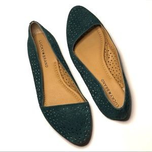 Lucky Brand | Teal Almond Shape Suede Flats